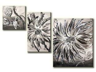 """Kolmeosaline abstraktne maal """"Lilled"""" hall"""