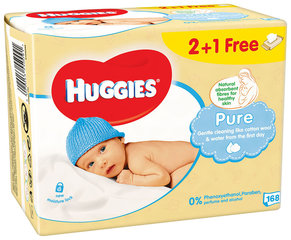 Niisked salvrätikud HUGGIES Pure Single, 168 tk