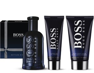 Komplekt Boss Bottled Night: EDT meestele 100 ml + raseerimisjärgne palsam 75 ml + dušigeel 50 ml