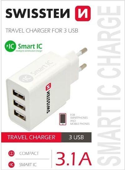 Laadija Swissten USB 1+2x2.1A, Valge