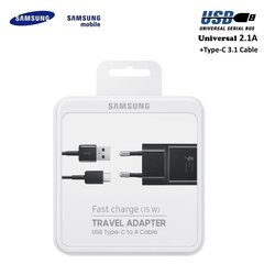 Telefonilaadija Samsung EP-TA20EBECGWW / Quick Charge 3.0 / 15W Original Travel Adapter + Type-C USB, must