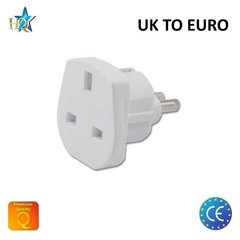 HQ Power Plug adapter from UK (United Kingdom) 3pin to Euro Socket - UK to EU Adapter White (OEM)