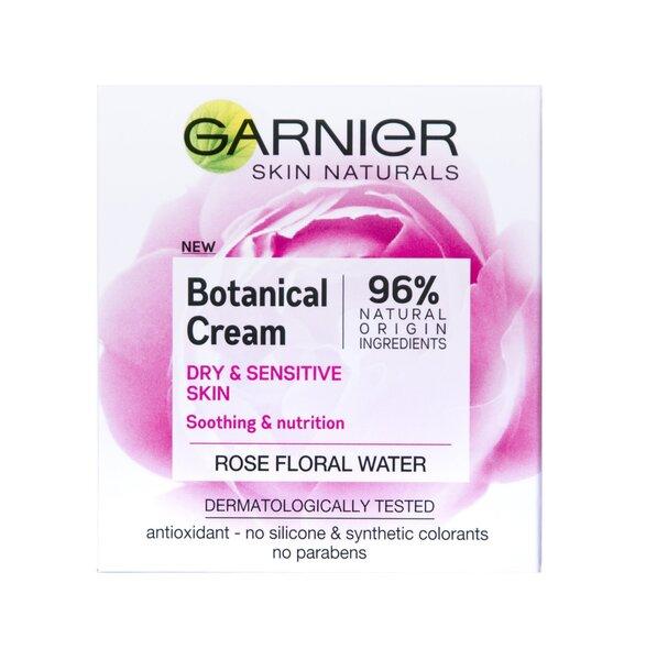 Niisutav näokreem toitev ja rahustav Garnier Skin Naturals Rose, 50 ml