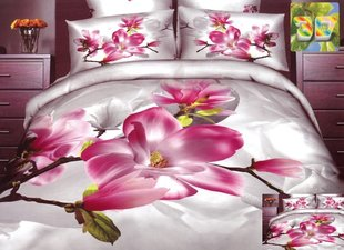 3D voodipesukomplekt 3-osaline, roosad lilled heledal taustal, 200x220 cm